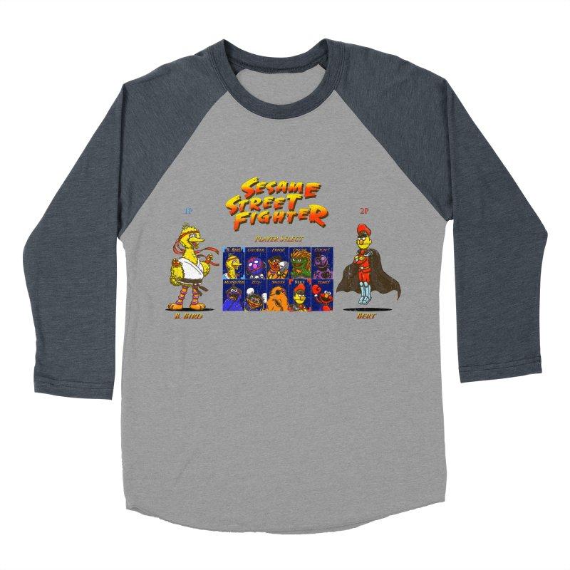 Sesame Street Fighter Men's Baseball Triblend Longsleeve T-Shirt by Den of the Wolf