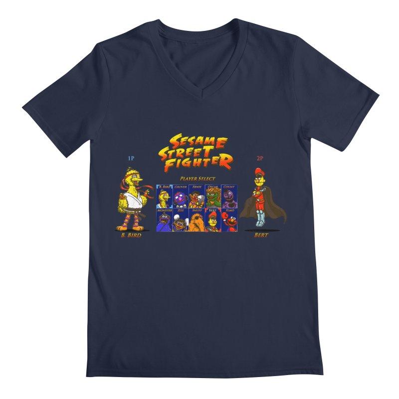 Sesame Street Fighter Men's V-Neck by NicholasWolf's Artist Shop
