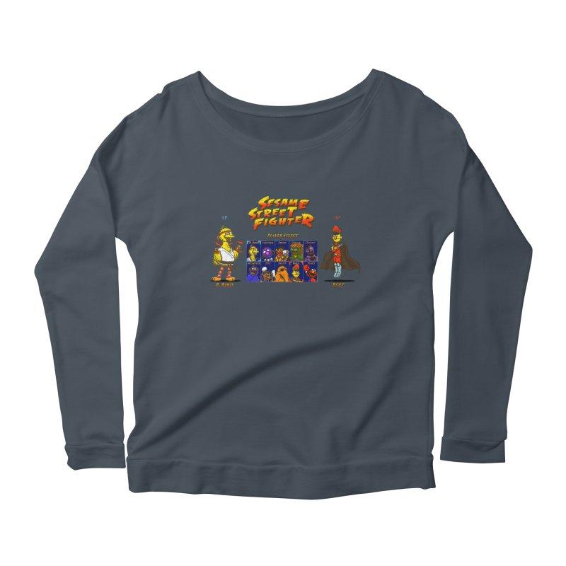 Sesame Street Fighter Women's Longsleeve Scoopneck  by NicholasWolf's Artist Shop