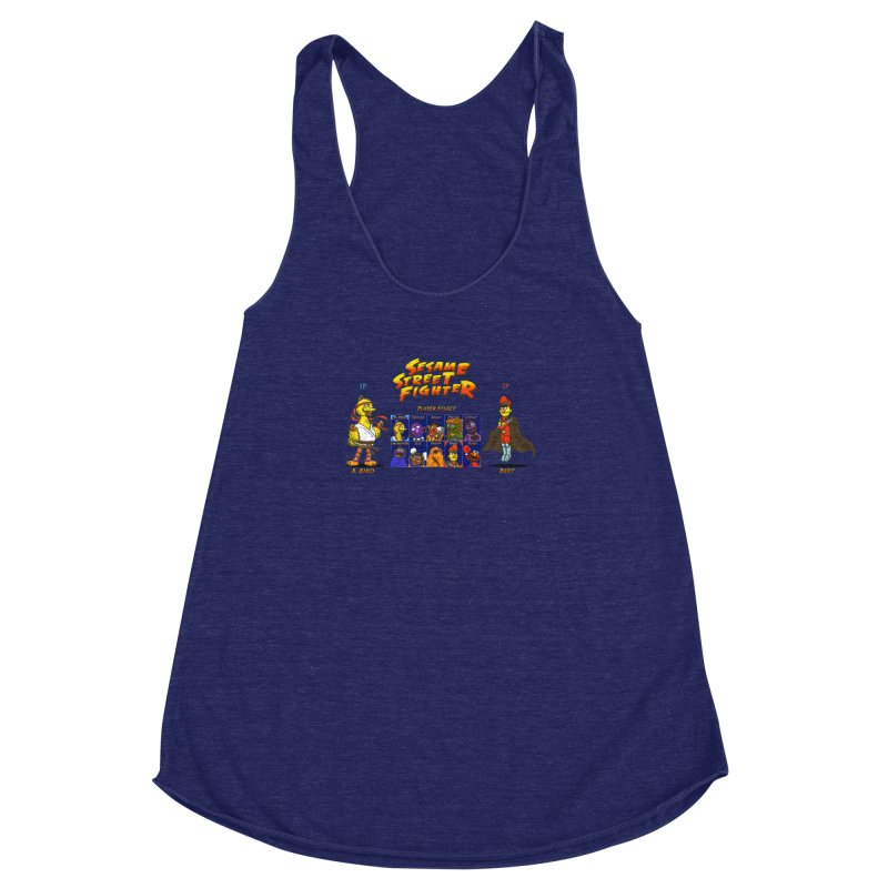Sesame Street Fighter Women's Racerback Triblend Tank by Den of the Wolf
