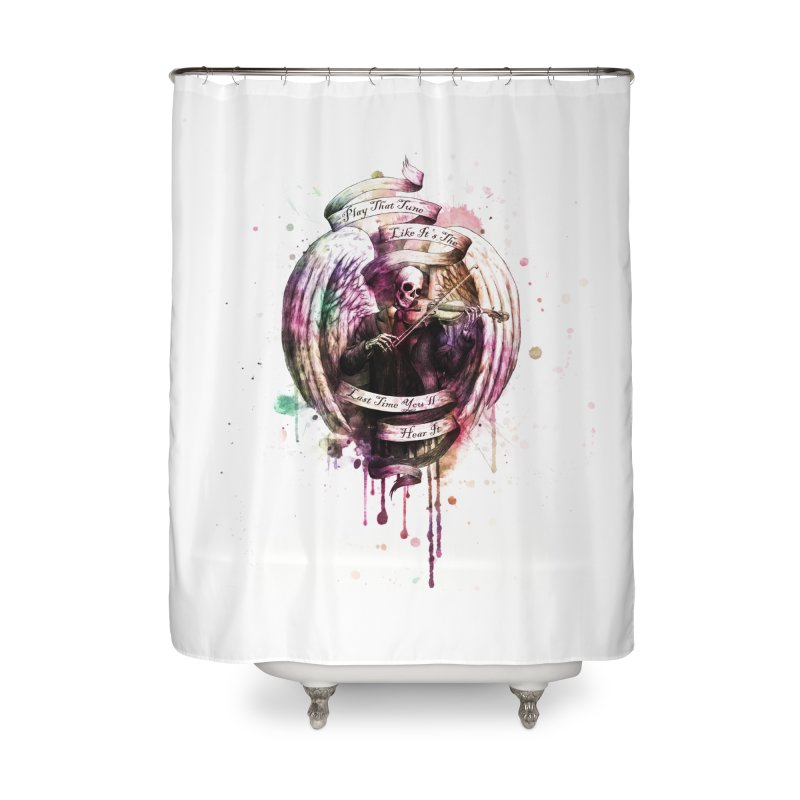 Play That Tune Like It's The Last Time You'll Hear It Home Shower Curtain by Den of the Wolf