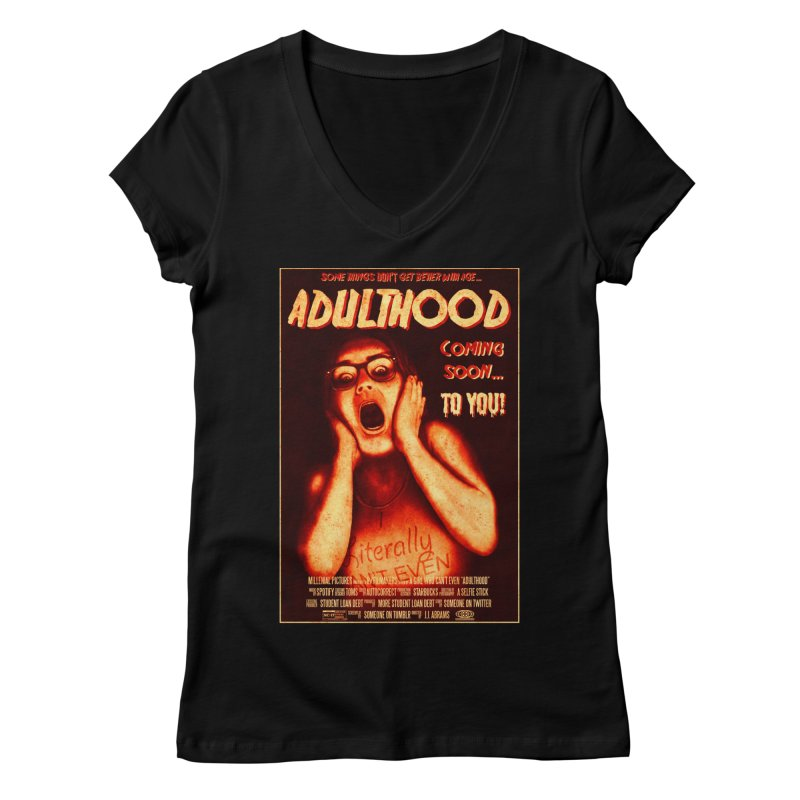 ADULTHOOD Women's Regular V-Neck by Den of the Wolf