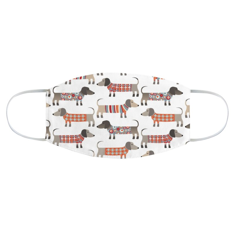 Sausage Dogs in Sweaters Accessories Face Mask by Nic Squirrell
