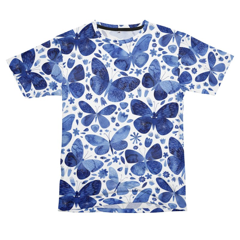 Blue Watercolor Butterflies Men's Cut & Sew by Nic Squirrell