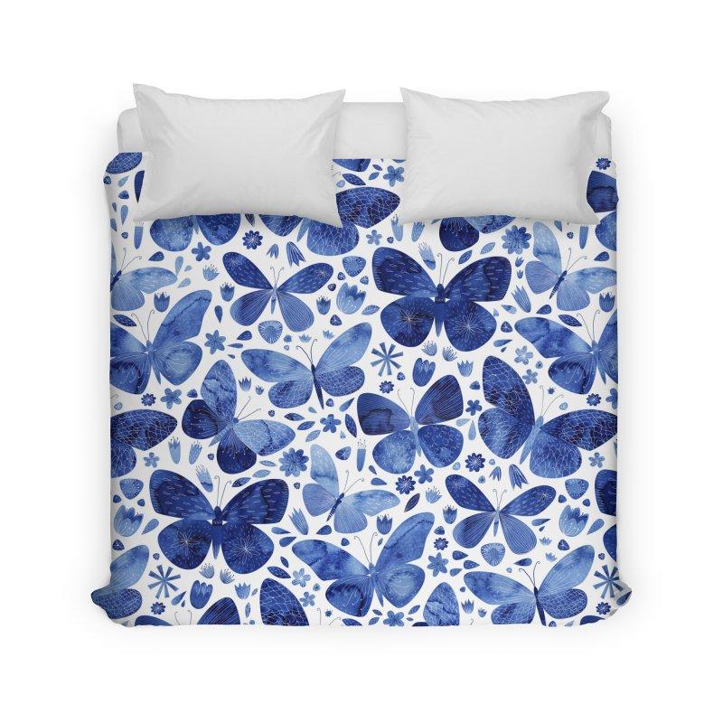 Blue Watercolor Butterflies Art & Home Duvet by Nic Squirrell