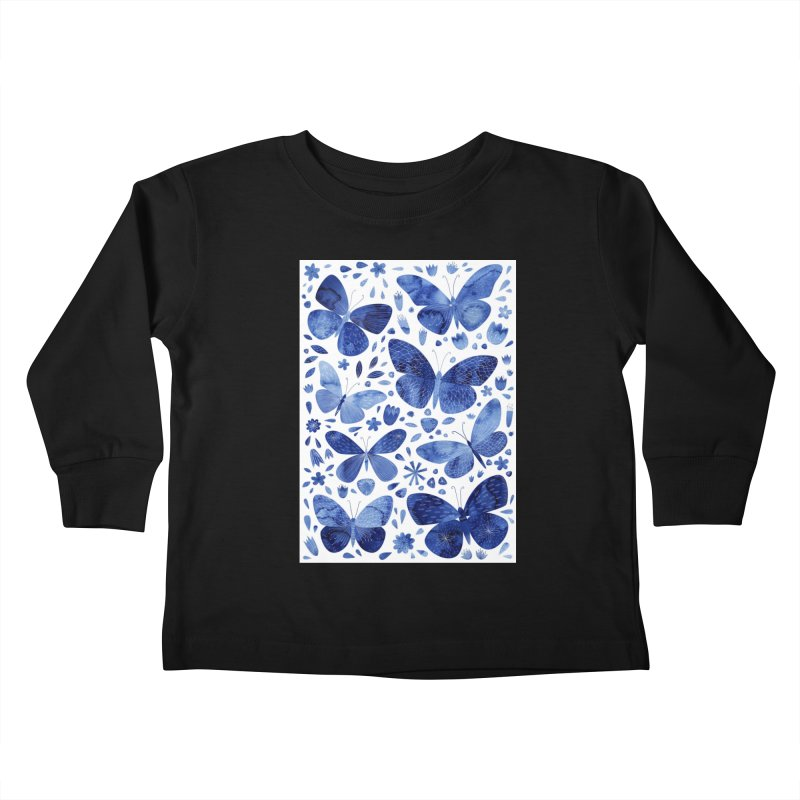 Blue Watercolor Butterflies Kids Toddler Longsleeve T-Shirt by Nic Squirrell
