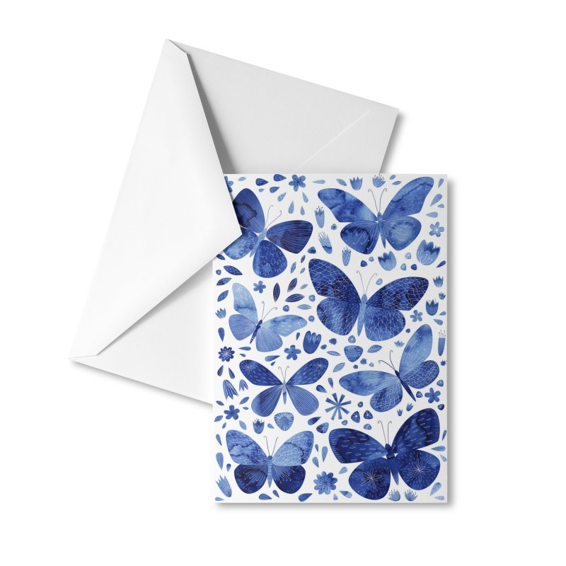Blue Watercolor Butterflies Accessories Greeting Card by Nic Squirrell