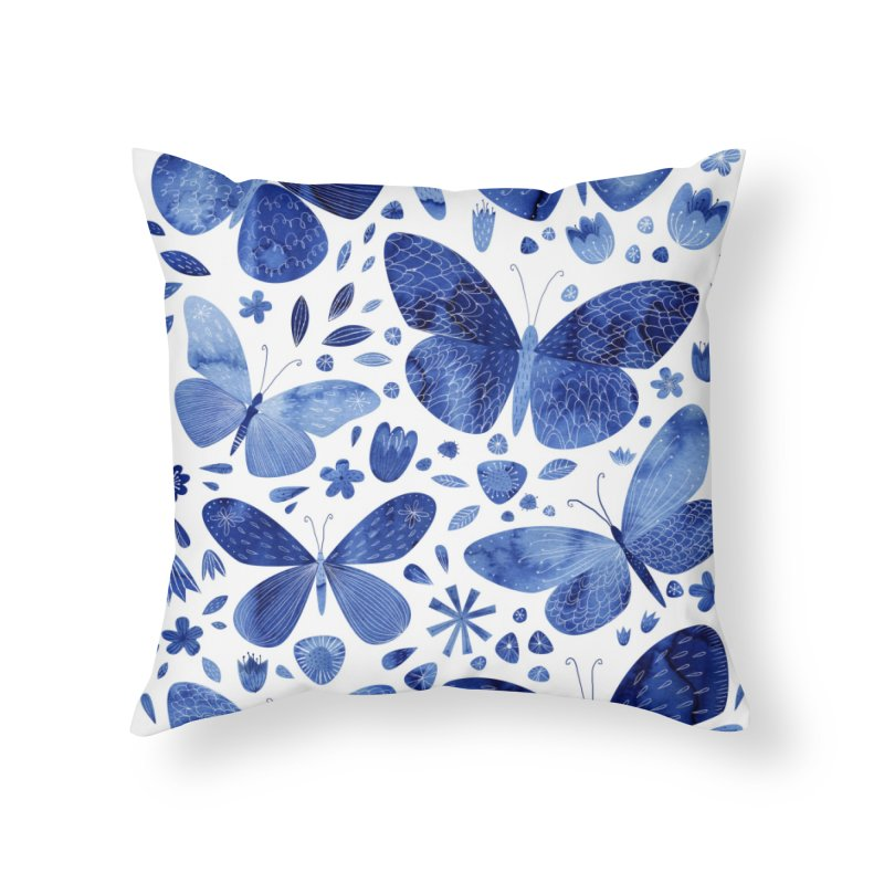 Blue Watercolor Butterflies Home Throw Pillow by Nic Squirrell