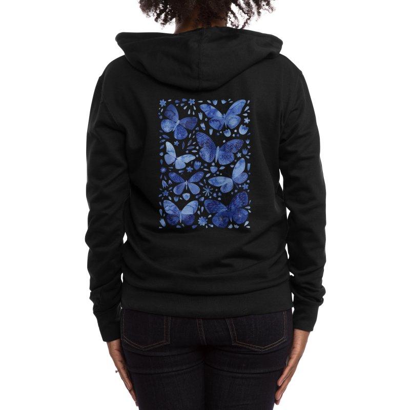 Blue Watercolor Butterflies Women's Zip-Up Hoody by Nic Squirrell