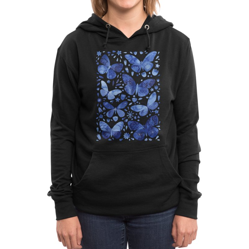 Blue Watercolor Butterflies Women's Pullover Hoody by Nic Squirrell