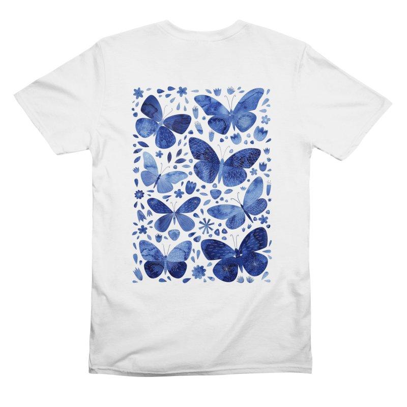 Blue Watercolor Butterflies Men's T-Shirt by Nic Squirrell