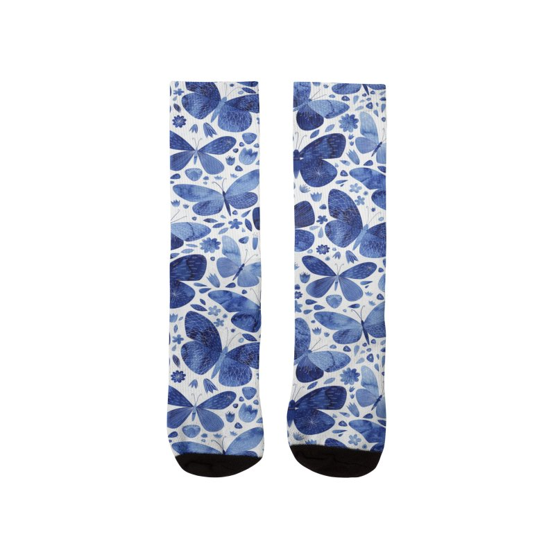 Blue Watercolor Butterflies Women's Socks by Nic Squirrell