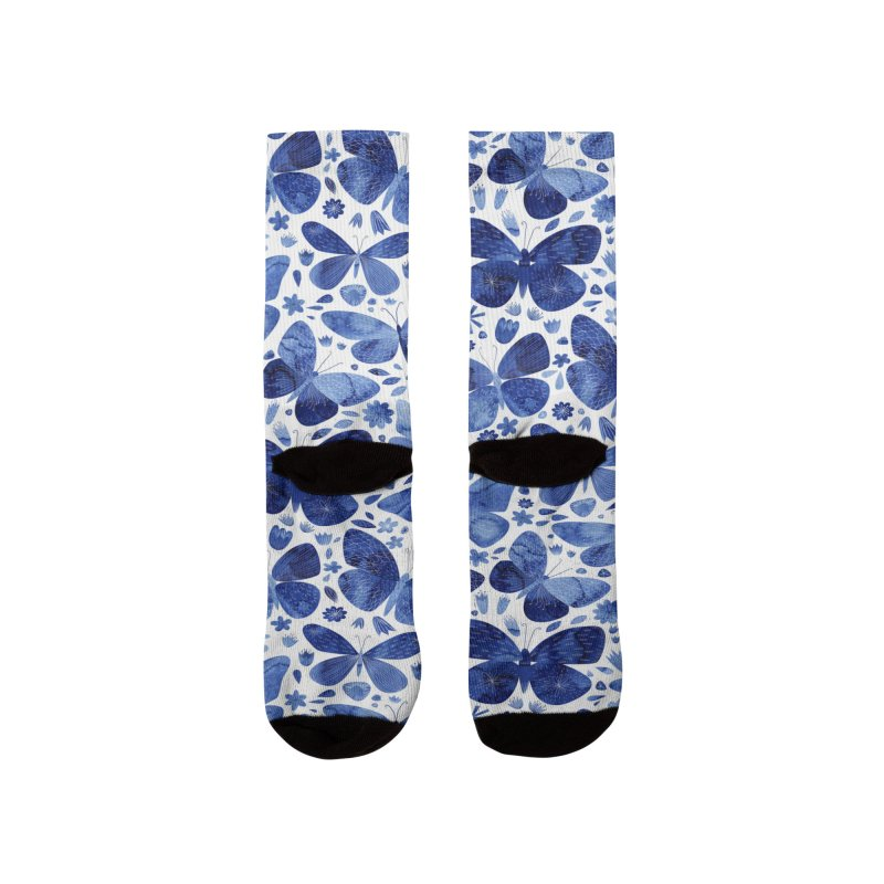 Blue Watercolor Butterflies Men's Socks by Nic Squirrell