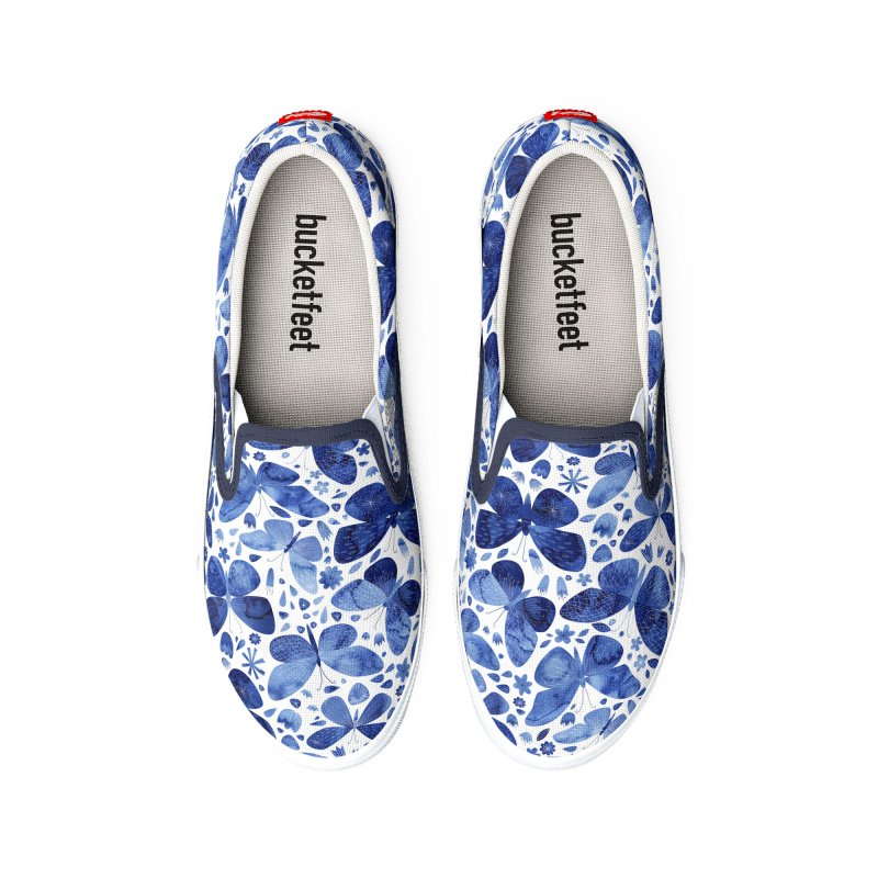 Blue Watercolor Butterflies Women's Shoes by Nic Squirrell