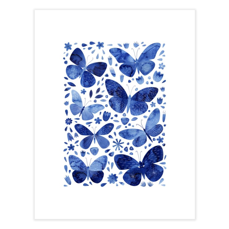 Blue Watercolor Butterflies Home Fine Art Print by Nic Squirrell