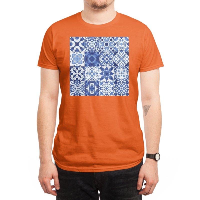 Indigo Watercolor Moroccan Tiles Men's T-Shirt by Nic Squirrell