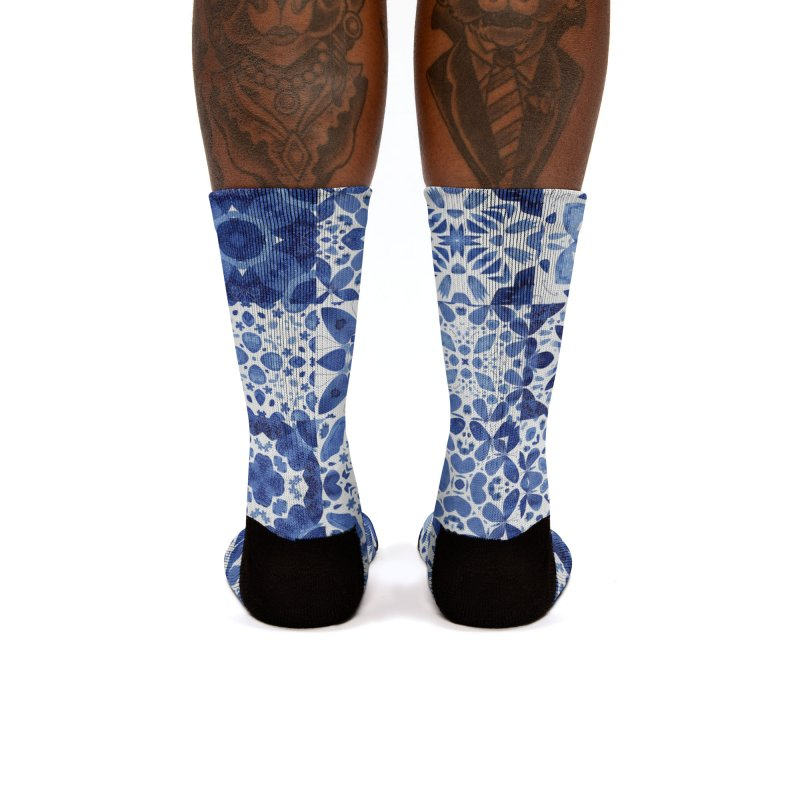 Indigo Watercolor Moroccan Tiles Women's Socks by Nic Squirrell