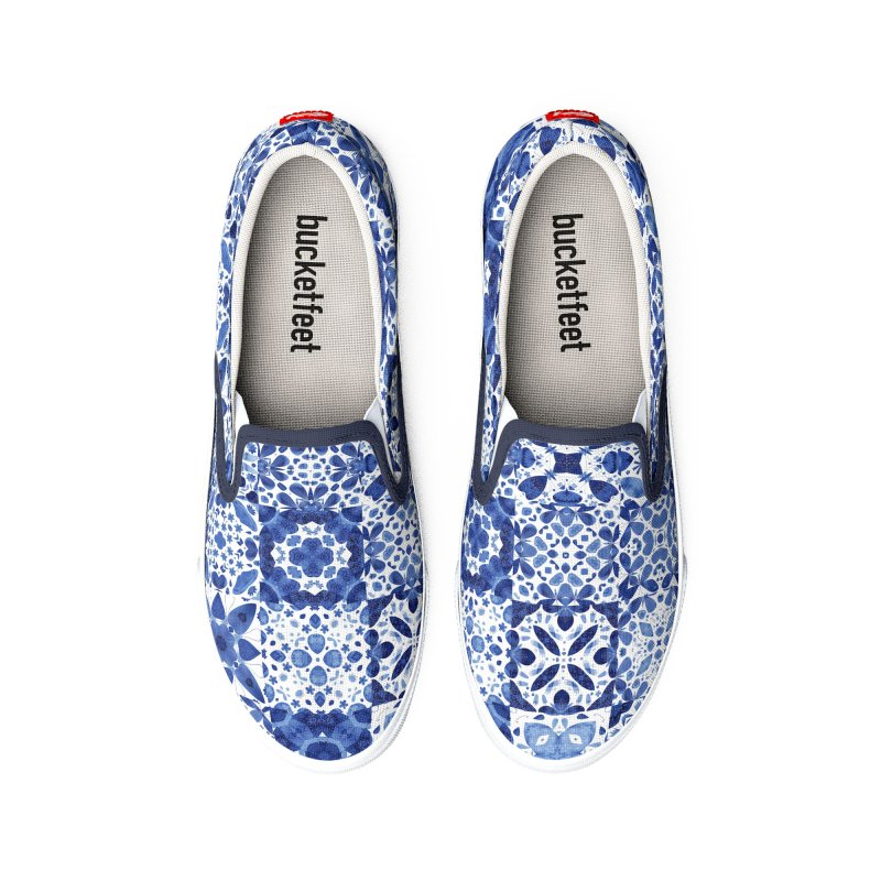 Indigo Watercolor Moroccan Tiles Women's Shoes by Nic Squirrell