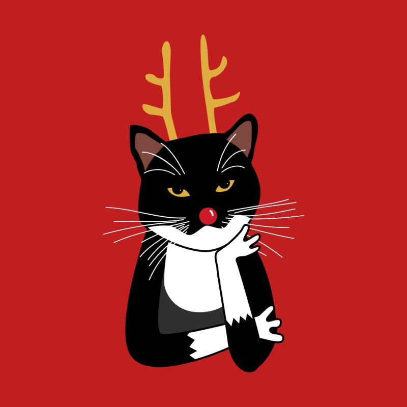 Bored Annoyed Christmas Cat Accessories Greeting Card by Nic Squirrell