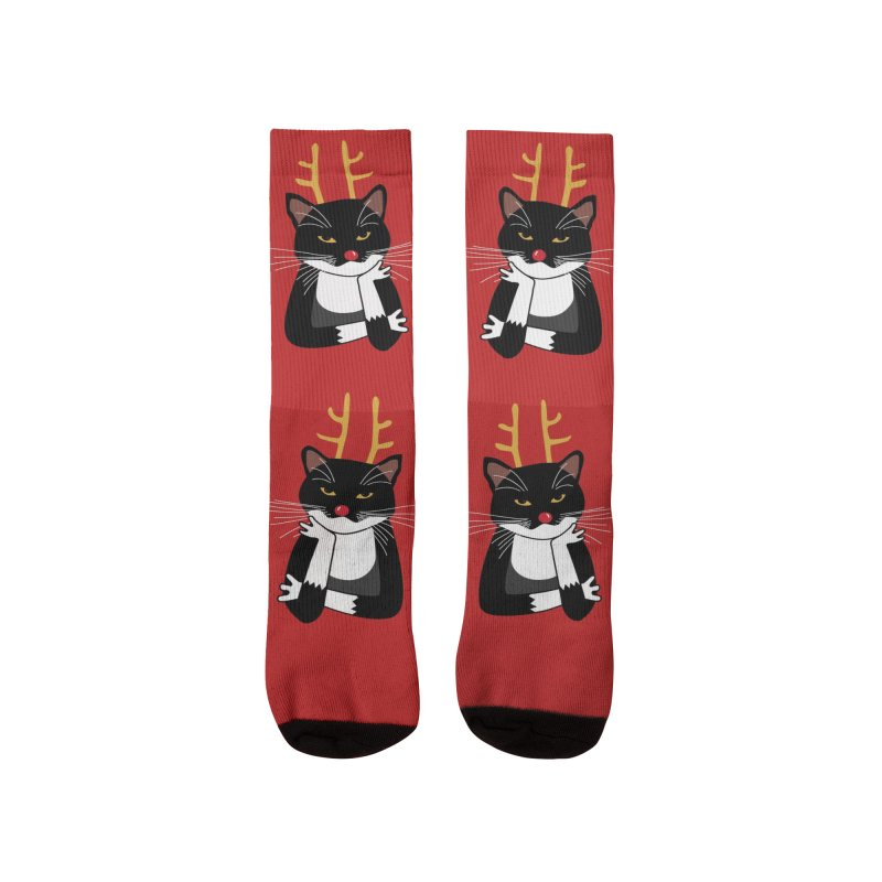 Bored Annoyed Christmas Cat Men's Socks by Nic Squirrell
