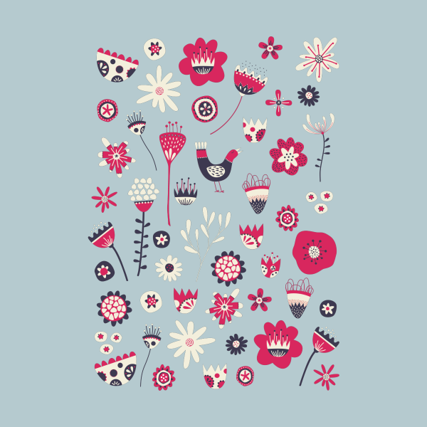 Design for Scandi Birds and Flowers Blue