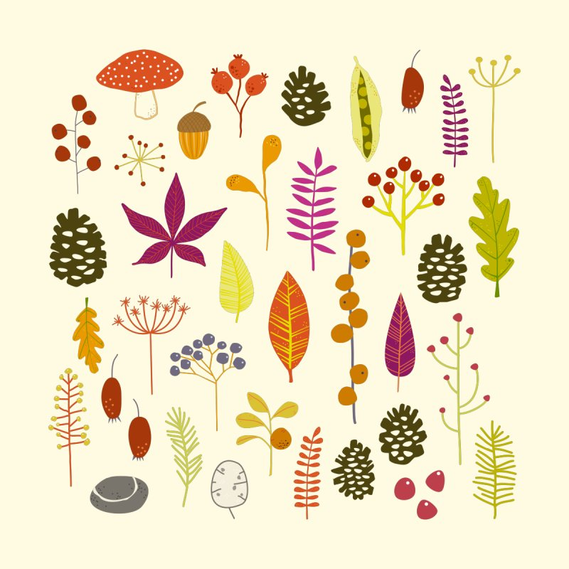 Autumn Nature Bits Home Shower Curtain by Nic Squirrell