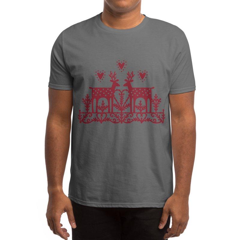 Scandinavian Reindeer Papercut Men's T-Shirt by Nic Squirrell