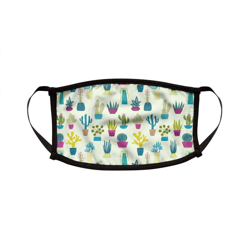 Cactus Cacti Succulent Art for Gardeners Accessories Face Mask by Nic Squirrell