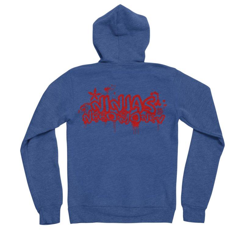 Urban Ninja Red Men's Sponge Fleece Zip-Up Hoody by Ninjas Need Money's Artist Shop
