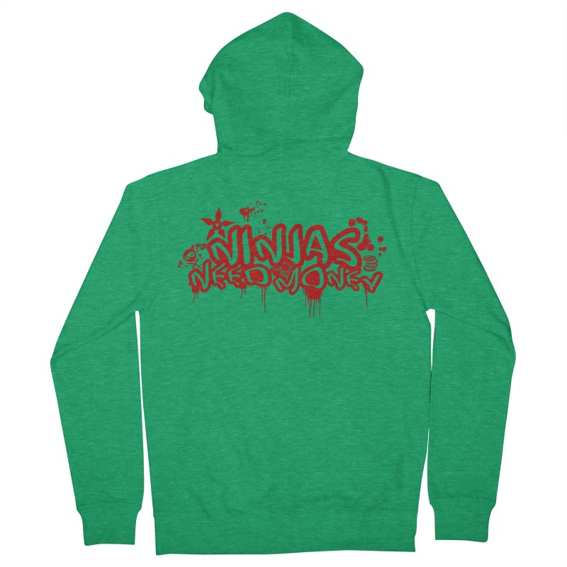 Urban Ninja Red Men's French Terry Zip-Up Hoody by Ninjas Need Money's Artist Shop