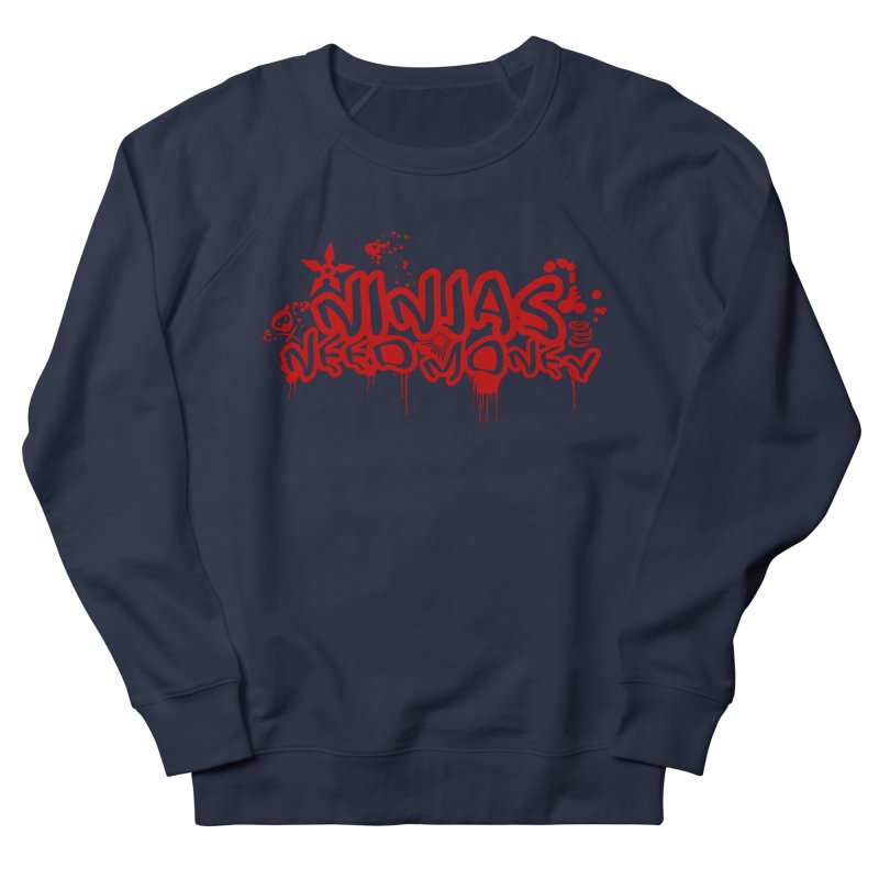 Urban Ninja Red Men's French Terry Sweatshirt by Ninjas Need Money's Artist Shop