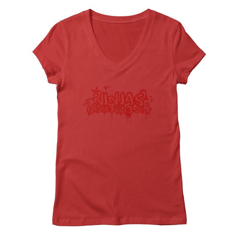Urban Ninja Red Women's Regular V-Neck by Ninjas Need Money's Artist Shop