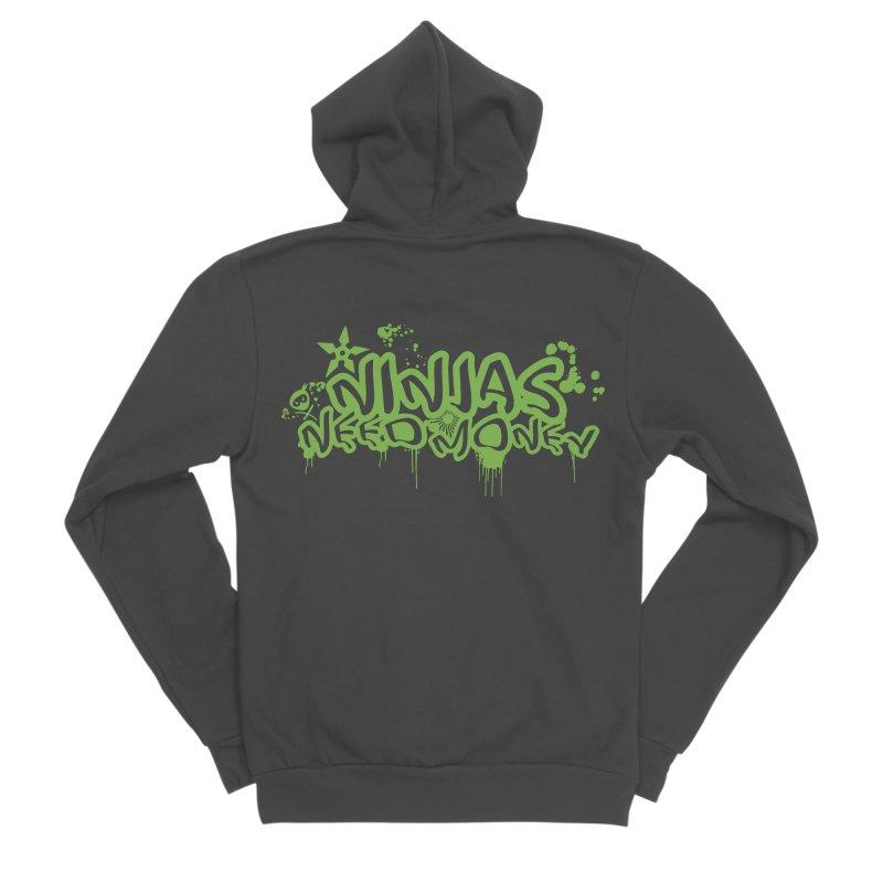 Urban Ninja Green Women's Sponge Fleece Zip-Up Hoody by Ninjas Need Money's Artist Shop