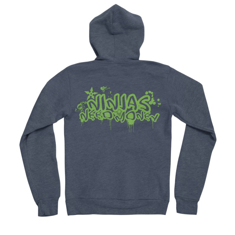 Urban Ninja Green Women's Sponge Fleece Zip-Up Hoody by Ninjas Need Money's Artist Shop