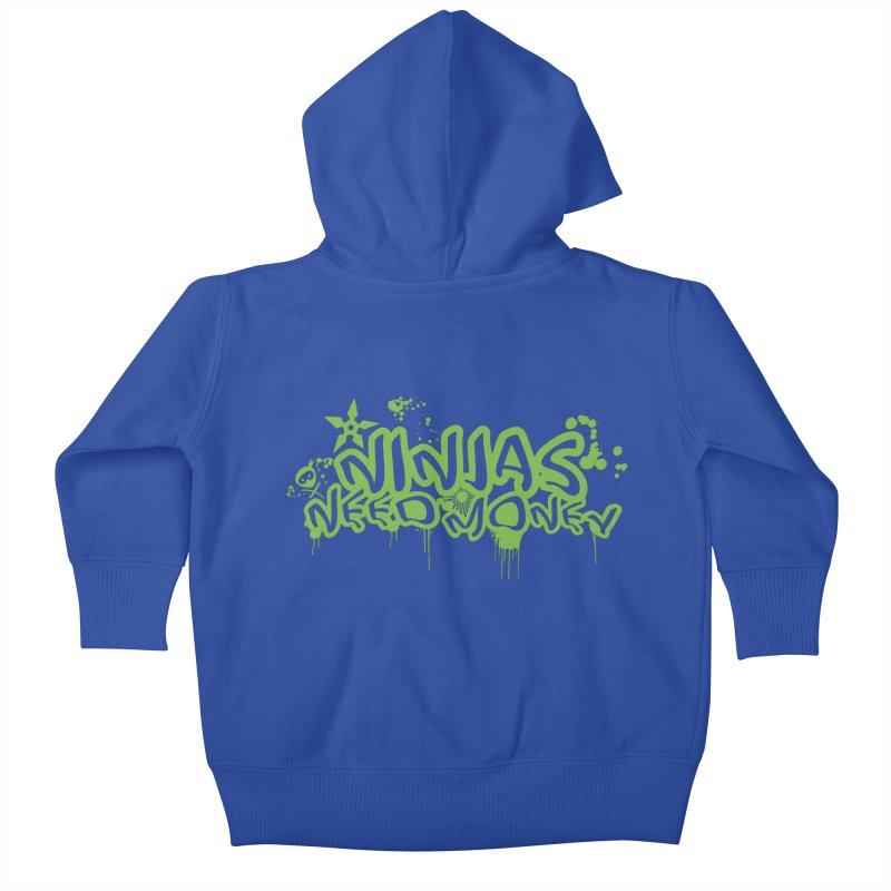 Urban Ninja Green Kids Baby Zip-Up Hoody by Ninjas Need Money's Artist Shop