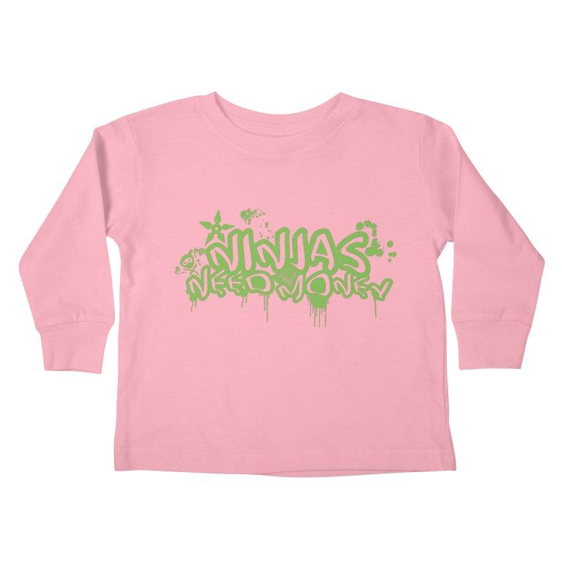 Urban Ninja Green Kids Toddler Longsleeve T-Shirt by Ninjas Need Money's Artist Shop