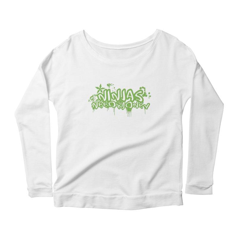 Urban Ninja Green Women's Scoop Neck Longsleeve T-Shirt by Ninjas Need Money's Artist Shop