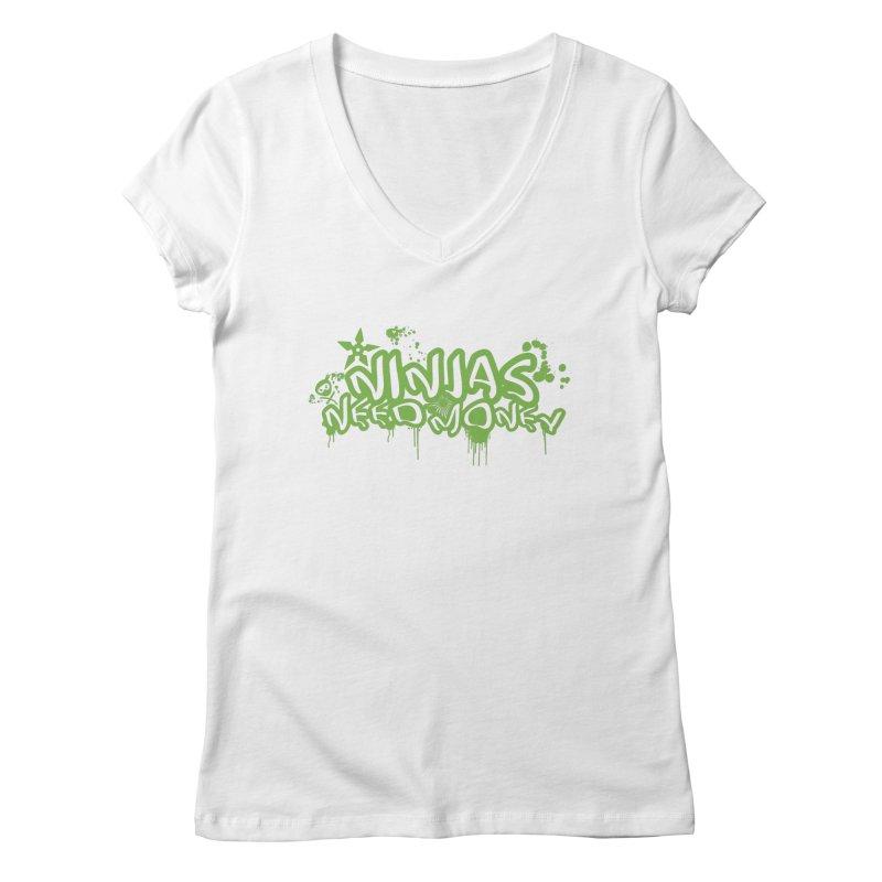 Urban Ninja Green Women's Regular V-Neck by Ninjas Need Money's Artist Shop