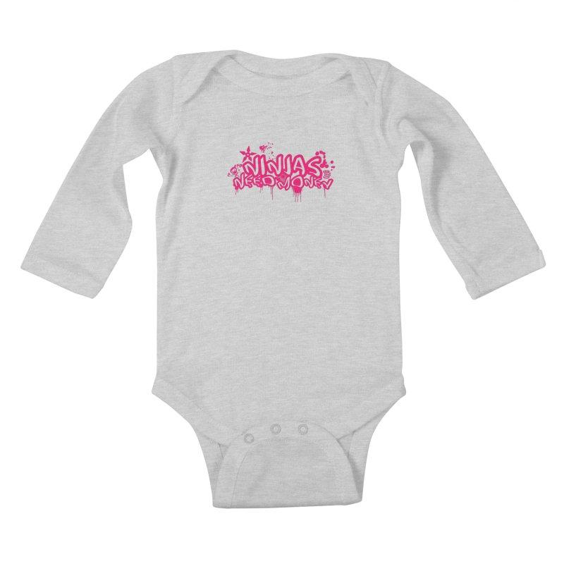 URBAN NINJA PINK Kids Baby Longsleeve Bodysuit by Ninjas Need Money's Artist Shop