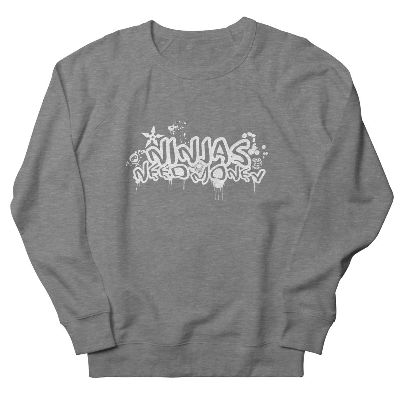 URBAN NINJA WHITE Men's French Terry Sweatshirt by Ninjas Need Money's Artist Shop