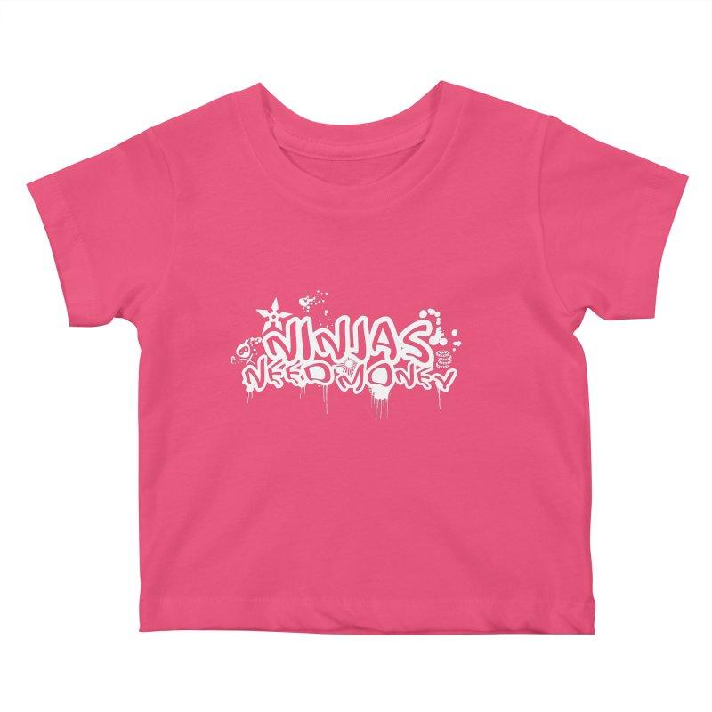 URBAN NINJA WHITE Kids Baby T-Shirt by Ninjas Need Money's Artist Shop