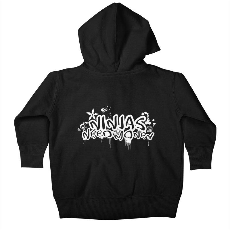 URBAN NINJA WHITE Kids Baby Zip-Up Hoody by Ninjas Need Money's Artist Shop