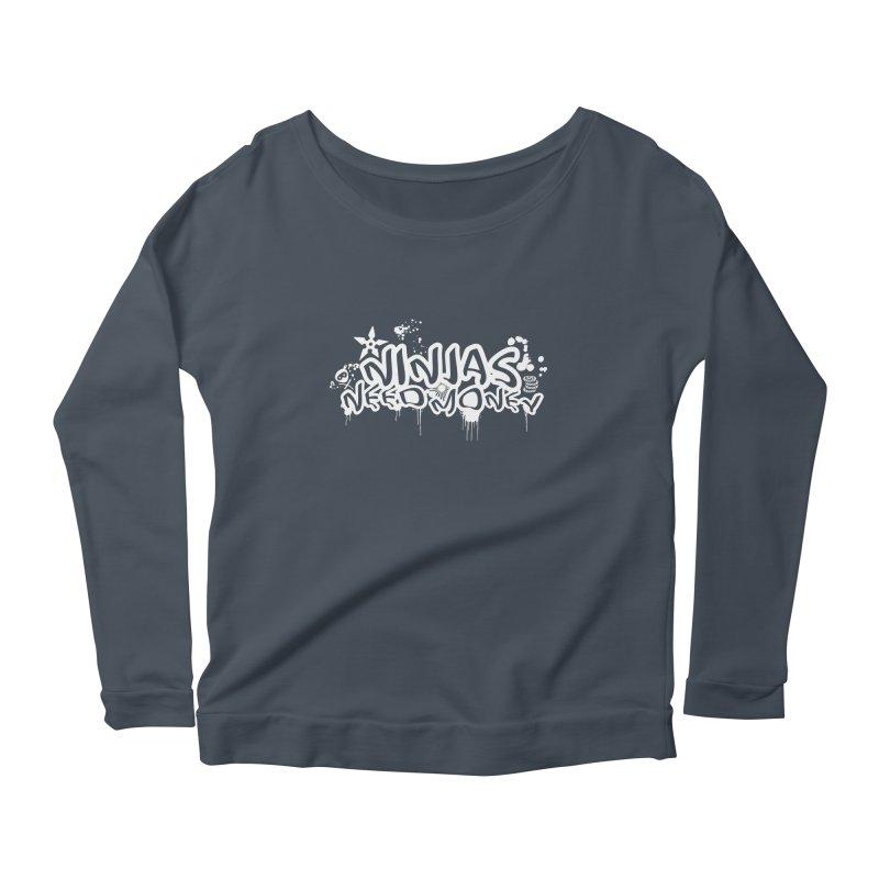 URBAN NINJA WHITE Women's Scoop Neck Longsleeve T-Shirt by Ninjas Need Money's Artist Shop
