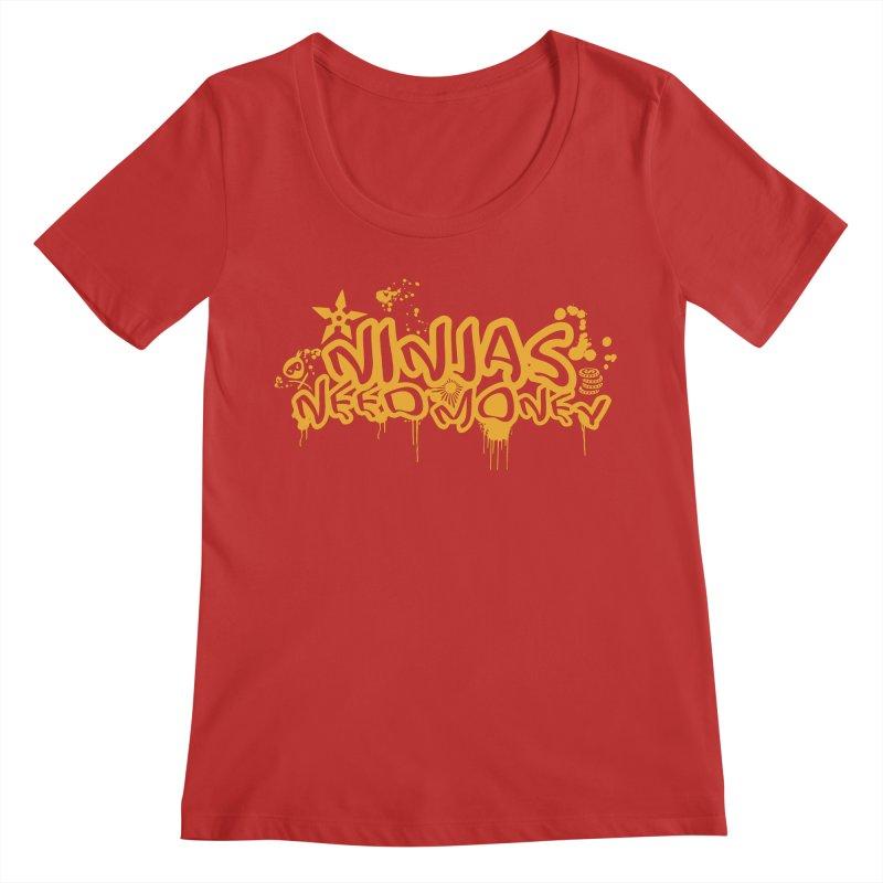 URBAN NINJA GOLD Women's Regular Scoop Neck by Ninjas Need Money's Artist Shop