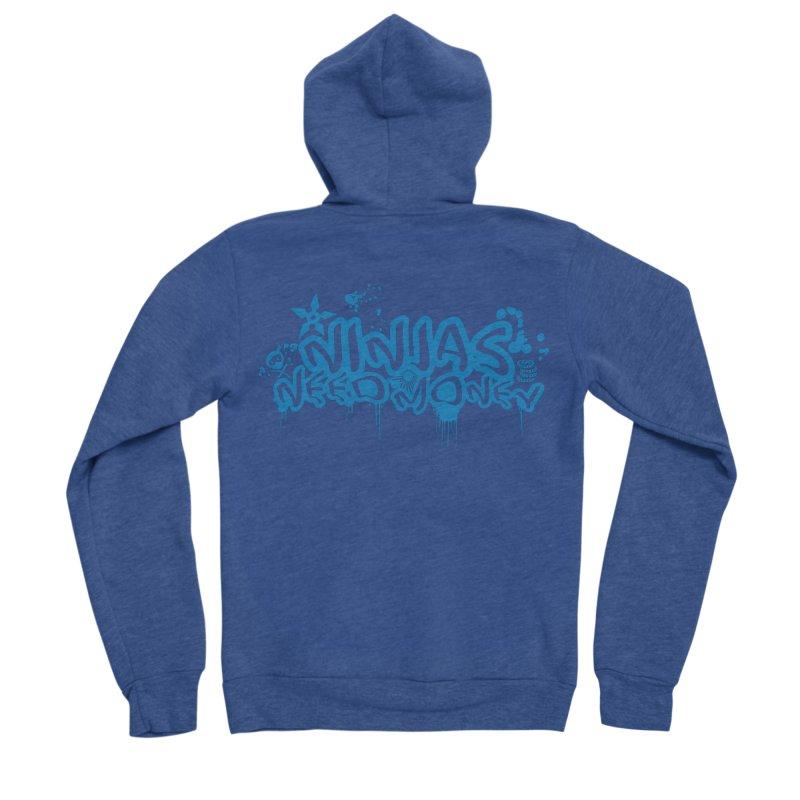 URBAN NINJA BLUE Women's Sponge Fleece Zip-Up Hoody by Ninjas Need Money's Artist Shop