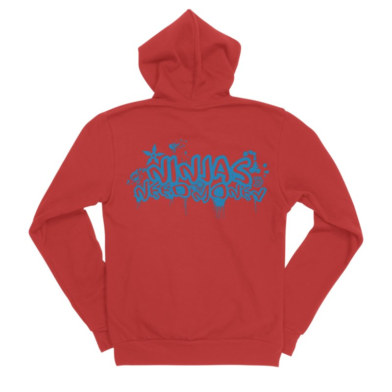 URBAN NINJA BLUE Women's Sponge Fleece Zip-Up Hoody by Ninjas Need Money's Artist Shop