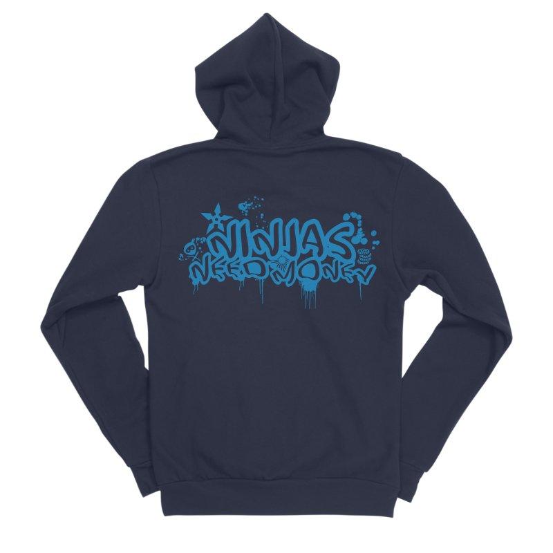 URBAN NINJA BLUE Men's Sponge Fleece Zip-Up Hoody by Ninjas Need Money's Artist Shop