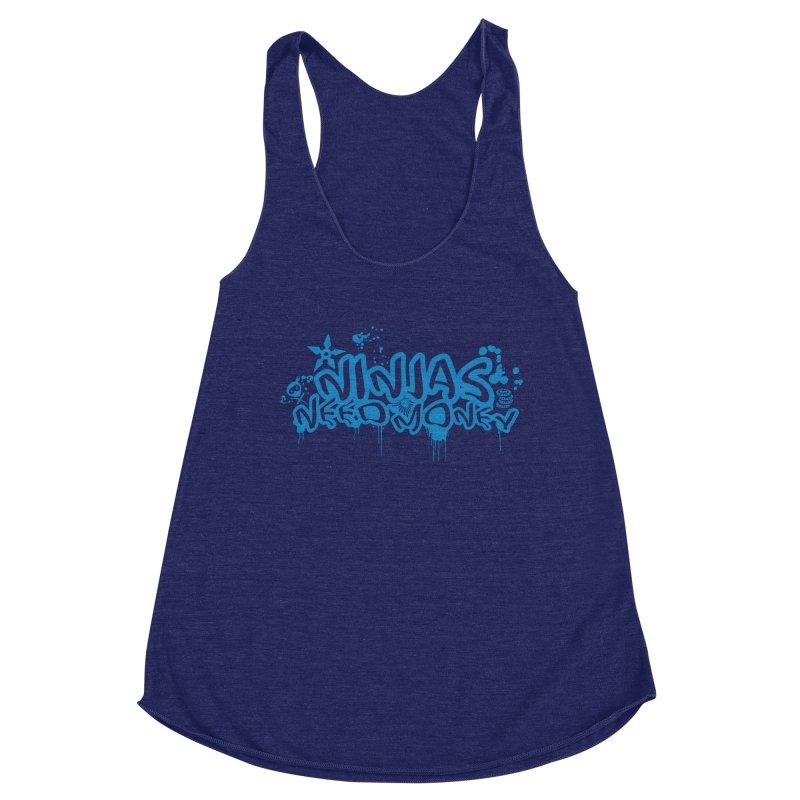 URBAN NINJA BLUE Women's Racerback Triblend Tank by Ninjas Need Money's Artist Shop