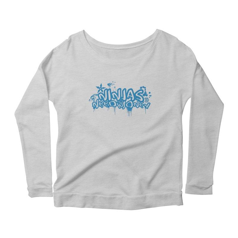 URBAN NINJA BLUE Women's Scoop Neck Longsleeve T-Shirt by Ninjas Need Money's Artist Shop