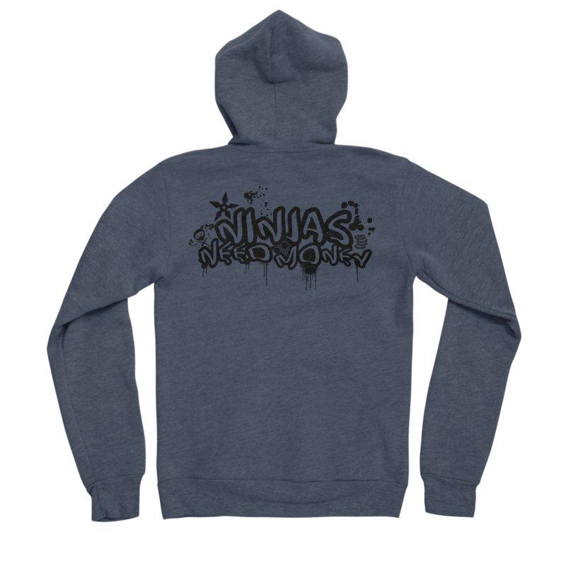 URBAN NINJA BLACK Men's Sponge Fleece Zip-Up Hoody by Ninjas Need Money's Artist Shop